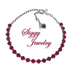 Swarovski Crystal Siam Red Necklace, 8mm Chatons